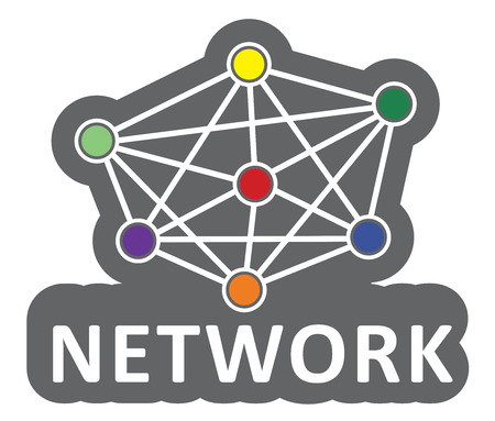 linked services: Network concept, abstract illustration with different colored nodes