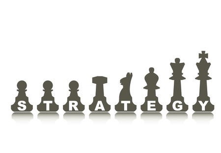 Strategy concept, illustration with abstract chess figure and text Vector