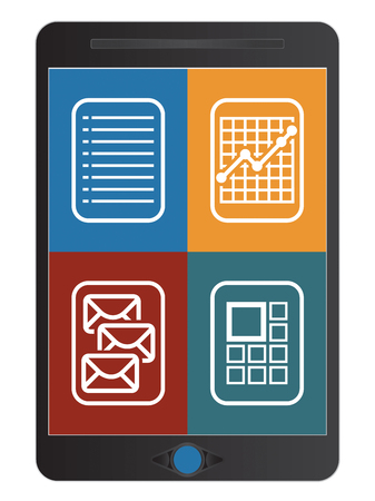 communication concept: Abstract communication icons on tablet screen, technology concept Illustration
