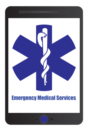 Medical emergency sign on tablet screen