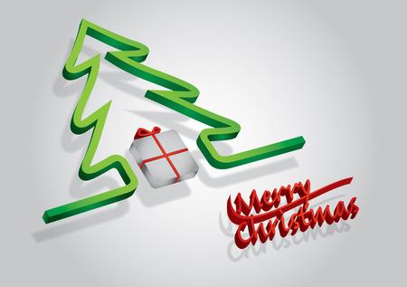 albero pino: Confezione regalo con fiocco rosso e pino, illustrazione astratta per le vacanze Vettoriali