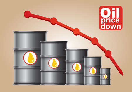 fell: Crude oil price down, abstract illustration with barrel and diagram