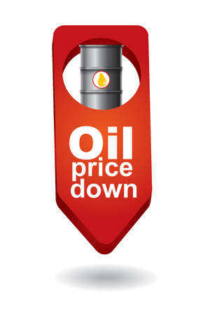 crude: Crude oil price down, abstract illustration with barrel arrows sign Illustration