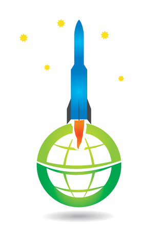 flamed: Space shuttle with abstract globe design, illustration for your design