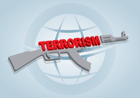 machine gun: Stop the terrorism sign with abstract machine gun and text