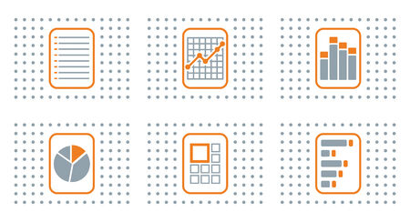 quoted: Graph of development, abstract flat color icon set for your design