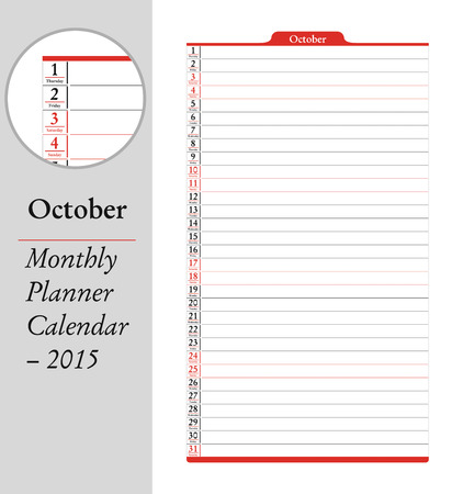 weekly planner: October sheet in an english 2015 Calendar with monthly planner