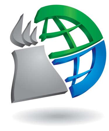 powerplant: Industrieel concept, abstracte energiecentrale illustratie voor uw ontwerp