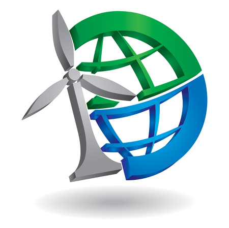 Renewable energy concept, abstract illustration with planet and windmill