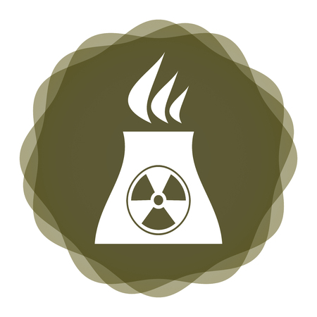 radiactividad: Icono de la radiactividad con la estaci�n de energ�a nuclear, concepto industrial con el fondo abstracto Vectores