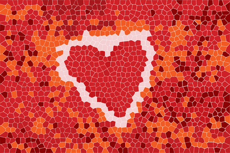hearth: Abstract background with hearth sign and mosaic pattern for your design