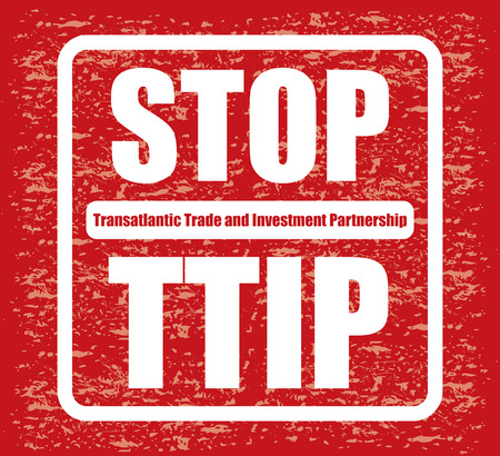 gm: Red banner or poster with stop TTIP sign, illustration for your protest Illustration