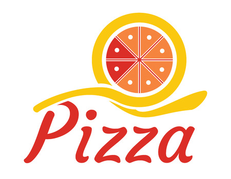 pizza maker: Gastronomy concept, template with abstract pizza and text