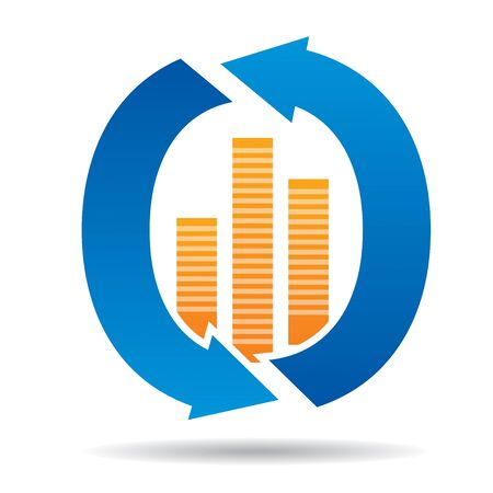 accomplish: Progress concept with abstract graph and circle arrows Illustration