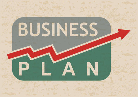 Business plan icon with graph, for presentation Illustration