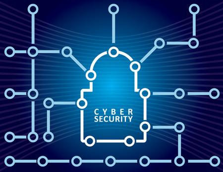 Concept de sécurité Cyber ??abstraite avec cadenas illustration Illustration