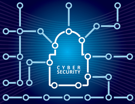 Cyber ??Security-Konzept mit Vorhängeschloss abstrakte Darstellung Illustration