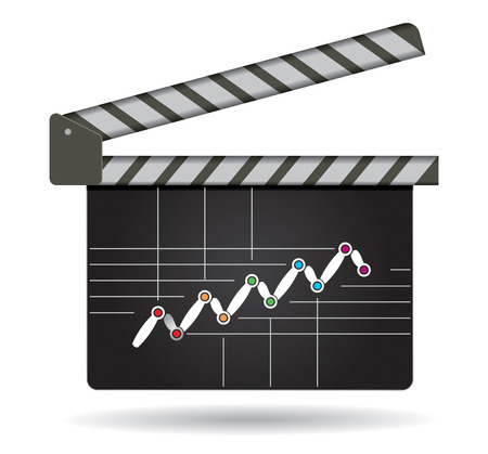 succes: Business strategy, flow of succes, illustration with film clap