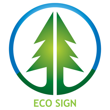 Ecological sign, icon with circle and pine tree Illustration
