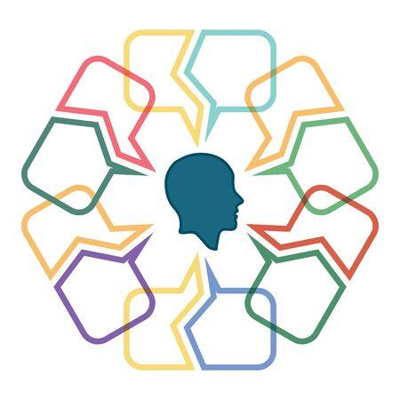 Conversation concept, colorful dialog speech bubbles with human head Illustration