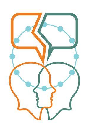 conversation: Conversation concept, colorful dialog speech bubbles with human head Illustration