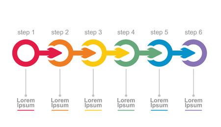 矢印のベクトル フロー図テンプレート