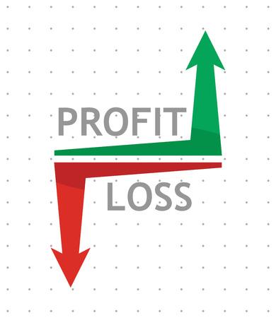 perdidas y ganancias: P�rdidas y Ganancias, ilustraci�n del concepto de negocio con las flechas Vectores