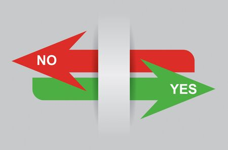 yes or no: Communication concept with Yes and No arrows Illustration
