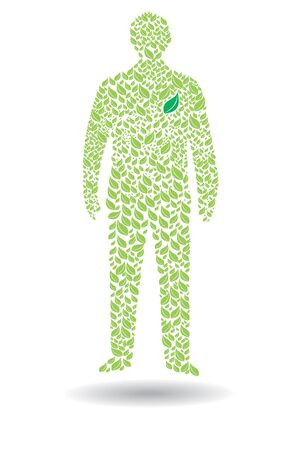 green man: Green man – ecological concept with human silhouette and leaf
