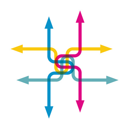 Color arrows pointing in different directions Illustration
