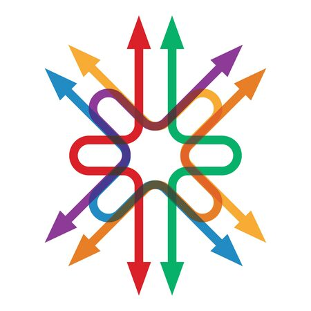 directions: Kleur pijlen wijzen in verschillende richtingen