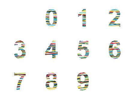 seventh: Number set,  illustration with color lines