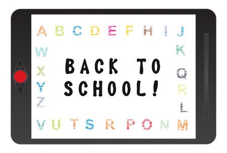 awakening: Tablet screen illustration with Back to school message Illustration