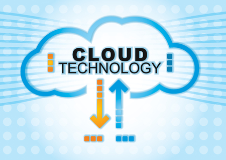 Cloud technology concept. Illustration with abstract digital background Ilustração