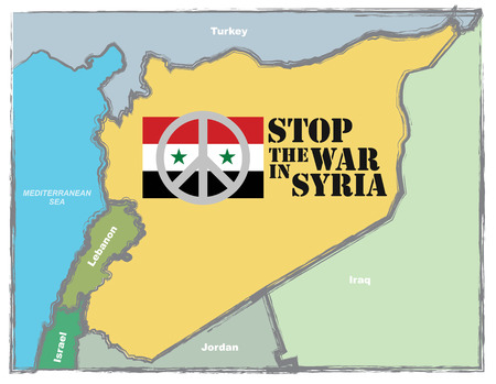 syria peace: Stop the war in Syria, abstract illustration with Syrian map and Peace sign