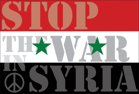 western asia: Stop the war in Syria, abstract illustration with Syrian flag and Peace sign