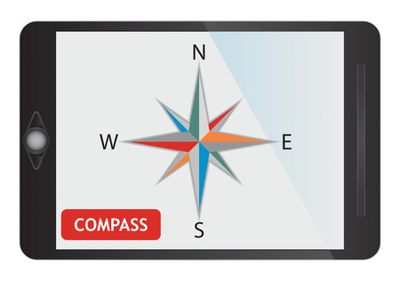 Digital compass, illustration with symbol on tablet screen