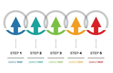 flujo: Vector flujo plantilla de gráfico, con flechas de color
