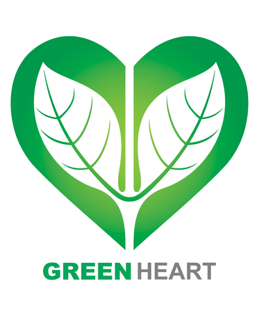 green heart: Green Heart illustration. Abstract ecological symbol.