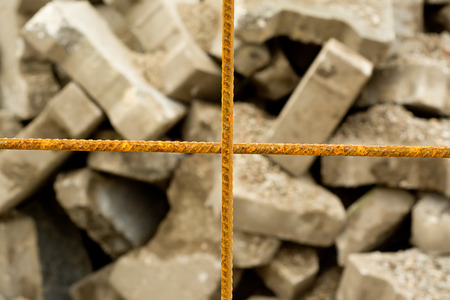 corroding: Rusted steel mesh with blurred background, construction concept Stock Photo