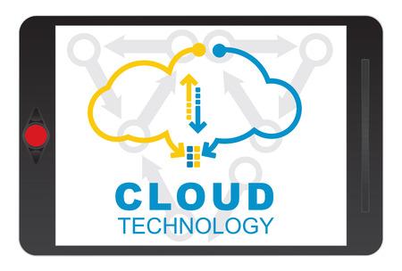 Cloud technology concept. Tablet screen illustration. Illustration