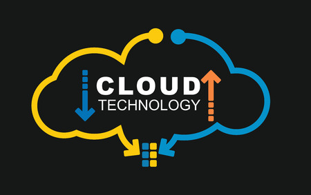 Cloud technology concept. Illustration with abstract digital background Çizim