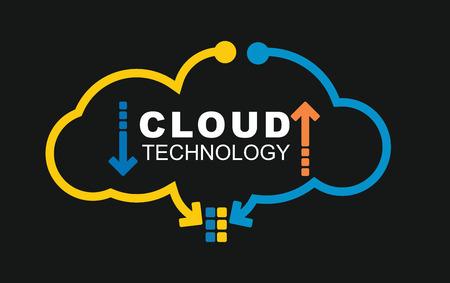 technology: Nube concetto di tecnologia. Illustrazione con astratto sfondo digitale
