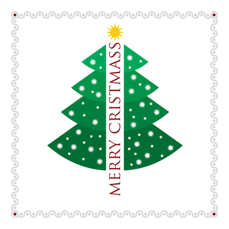 christmass tree: Christmas tree with snowflakes on white background with border