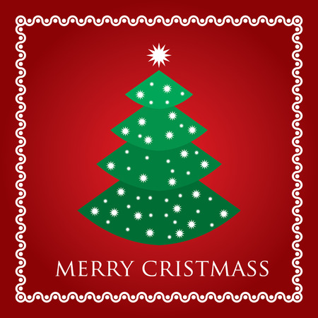 christmass: Christmass tree with snowflakes on white background with border
