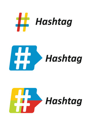 contributing: Hashtag, communication sign set. Abstract illustration for your design.
