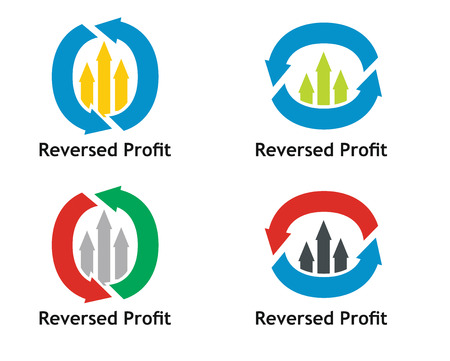 affluence: Financial concept. Reversed profit sign with arrows Illustration