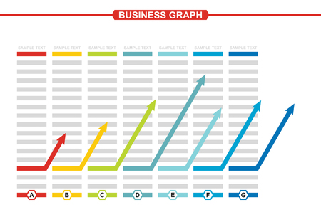 quoted: Business graph of development, illustration with copy space area
