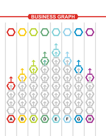 height chart: Business graph of development, illustration with copy space area