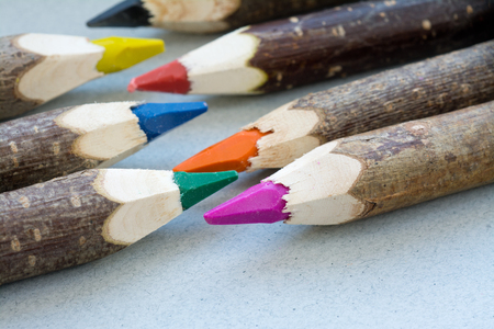 paneling: Handmade color crayons with wood paneling